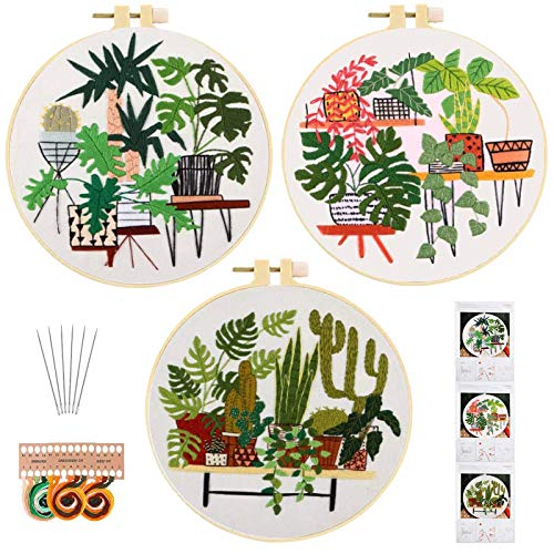ORANDESIGNE 3 Pack Embroidery Starters Kits with Pattern, Stamped Cross Stitch Kits for Beginners Adults Needlepoint Hand Embroidery Hoops Cloth Color Thread Floss Flowers Plants Cactus