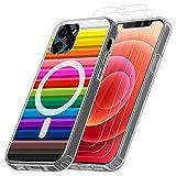 ANEWSIR Magnetica Cover Compatibile con iPhone 12/12 Pro, TPU Cornice Paraurti +PC Color Ibrido Custodia Magnetico Custodia Compatibile con MagSafe [Anti-Giallo]+3 Pezzi Vetro Temperato