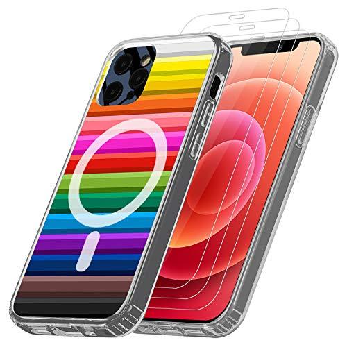 ANEWSIR Magnetische Hulle Kompatibel mit iPhone 1212 PRO 61 Magsafe Ladegerat Handyhulle Dunn PC Color Back TPU RahmenAnti Gelb Stosfest Case 3 Stuck 9H Harte Schutzfolie