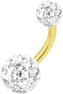 SkinArt Piercing Titanio Dorado Banana, Bolas Multi Cristales, Blancos | 6-16 mm
