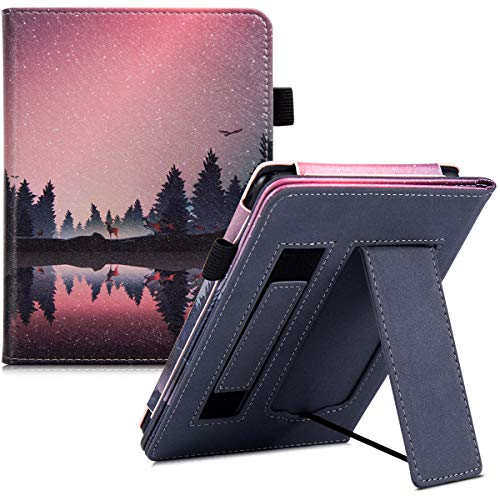BOZHUORUI Case for All-New Kindle Paperwhite (10th Generation 2018 / Fits All Paperwhite Generations) - Portable Standing Bracket Protective Cover with Hand Strap,with Auto Sleep/Wake (Nightfall)
