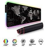 Auveach Tappetino Gioco Gaming Mouse Pad Illuminato a LED RGB Grande 800x300x4mm USB 11 Colori Silicone Antiscivolo (Mappa)