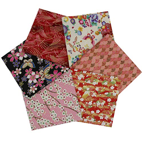 Tela Algodón Telas para Patchwork Estilo Japonés, 6 Piezas 40 x 40 cm Cuadrados Impresos Floral Patrones Bronceadores Diseño Material Textil para Costura Acolchado Bricolaje Manualidades Coser (Rosa)