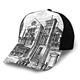 Notre Dame Sun Hat Bucket Style Men Women Old Engraved Art Drawing Illustration of Notre-Dame-En-Vaux Exterior Print,Fisherman Beach Hat Sun Protection Purple,Black and White