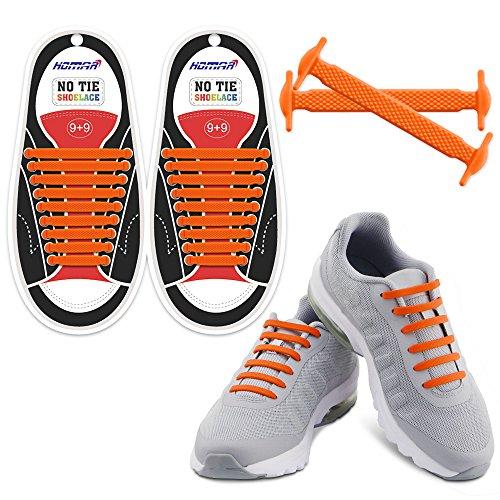 HOMAR Wasserdicht Reflektierende Kein Tie Schnürsenkel Elastische Sport Schnürsenkel für Sneakers Boots Skateboard Wandern Sport-Schuh - Orange