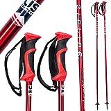 Ski Poles Carbon Composite Graphite - Zipline Blurr 16.0 U.S.- U.S. Ski Team Official Supplier (Downhill/Mens/Womens/Kids/Junior/Freestyle/Racing) (Red Chrome, 48' in./122 cm)