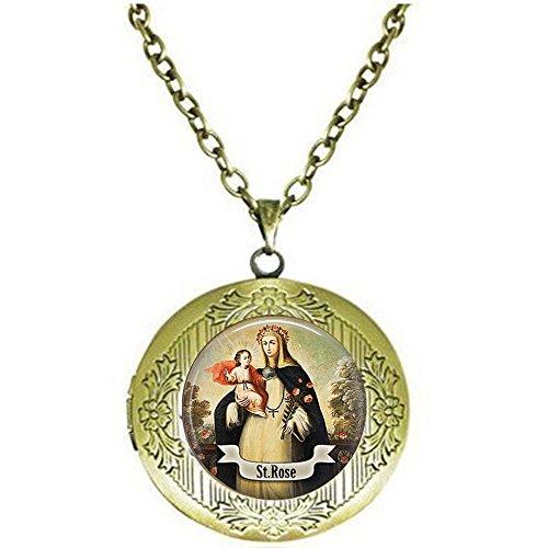 qws Saint Rose of Lima Locket Necklace - Catholic Saint Jewelry - St Rose - Religious Jewelry - Saint Rose Charm - Catholic Faith Gift