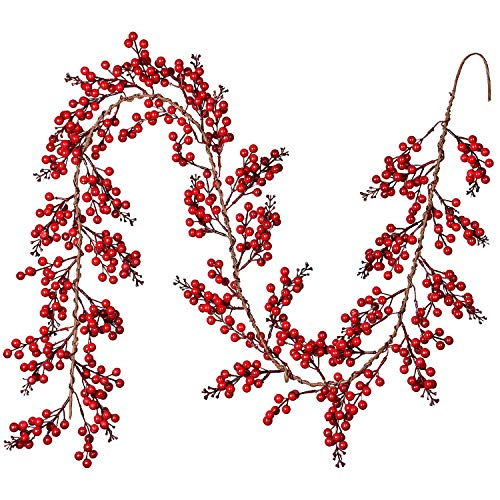 DearHouse 6FT Red Berry Christmas Garland, Artificail Garland Indoor Outdoor Garden Gate Home Decoration Lights for Winter Holiday New Year Decor