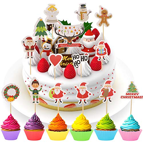 Ulikey 43 Stück Weihnachten Cake Cupcake Topper + 6 Stück Kuchen Tasse, Kuchendeckel Topper Merry Christmas Reindeer Torten Topper Decoration