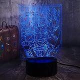 3D Anime Lámpara ilusión de figuras de acción de dibujos animados LED lámpara de mesa decoración 7 colores luz nocturna infantil lámpara de Navidad lámpara remota sin mando a distancia