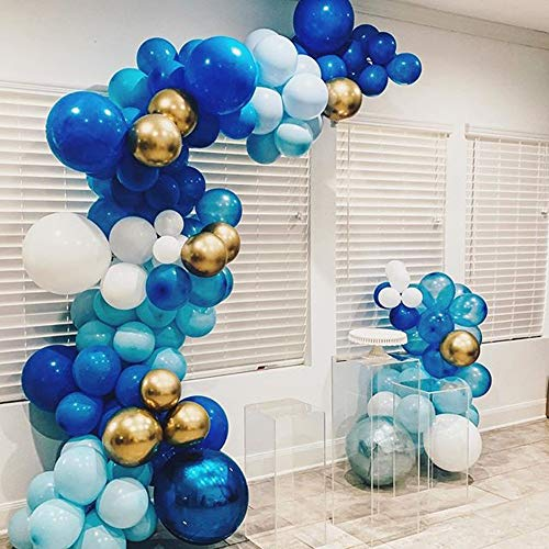 100Pcs Blue Gold White Balloon Garland & Arch Kit-100pcs Latex Balloons, 16 Feets Arch Balloon Strip Tape for Baby Shower Birthday Wedding Party Backdrop