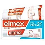 elmex Dentifricio Protezione Carie, Reminiralizza e Protegge Efficacemente i Denti dalla Carie, Dentifricio Anticarie con Fluoruro Amminico, 2 x 75 ml