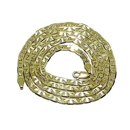 Never Say Never Collana in oro giallo 18 k da uomo, modello Bilbaina, con barre da 4 mm di larghezza e 60 cm di lunghezza, 17,50 g di oro 18 carati.
