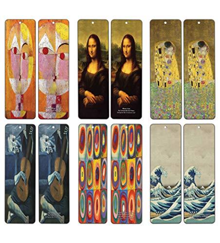 Creanoso Famous Art Bookmarks (12-Pack) - Pablo Picasso, Gustav Klimt, Wassily Kandinsky, Leonardo da Vinci, Paul Klee, Katsushika Hokusai Painting Prints - Bookmarks for Books - Wall Decor