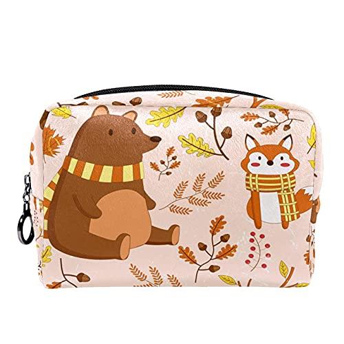 Trousse de Maquillage Voyage Maquillage Case Cosmetic Case Professional Portable Bear Deer quitte Fox Organisateur et Rangement pour Porte-pinceaux de Maquillage