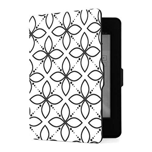 Funda Kindle Paperwhite 1 2 3, Funda de Piel sintética Floral en Blanco y Negro con Smart Auto Wake Sleep para Amazon Kindle Paperwhite (para Las Versiones 2012, 2013, 2015)