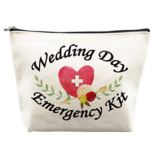 Wedding Day Emergency Kit for Bride Makeup Bag Bridal Shower Gifts Engagement Gifts Wedding Survival Kit Bachelorette Gifts Bachelorette Party Favors Miss to Mrs Cosmetic Bag