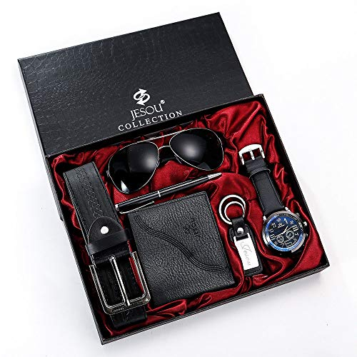 YOLANDE Geschenkset Herren Schwarz Lederarmband Armbanduhr Sonnenbrille Gürtel Geldbörse Schlüsselanhänger Stift Set Valentinstag