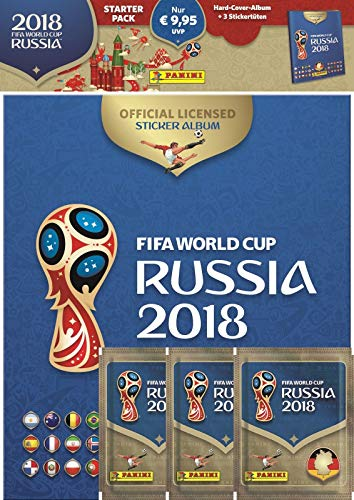 Panini 709951 FIFA World Cup Russia 2018 Pegatinas coleccionables (Starter Set, Hard Cover álbum y 3 Booster