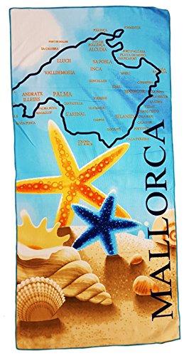 Ilkadim Strandtuch 70x140cm, Handtuch Motiv Mallorca, Badetuch 100{7261cecb9f400258ea96ab96517706d190e8b3264bdb78d3a5f20e2aa243c890} Baumwolle Microfaser (braun beige gelb blau)