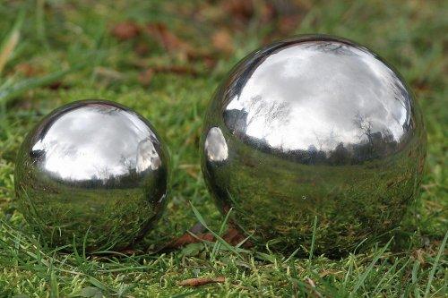 3 Stück Dekokugel, Gartenkugel Galaxy in silber aus Edelstahl, Ø ca. 13 cm