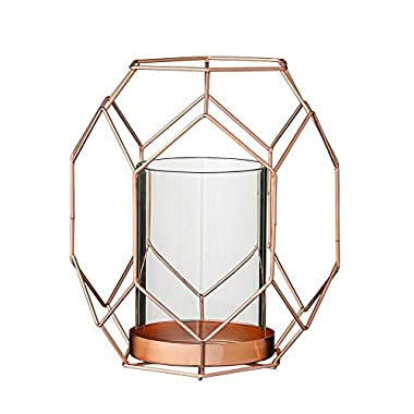 Bloomingville Copper Metal Geometric Votive Holder with Glass Insert, Small