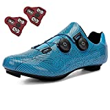 GENAI Men Road Bike Shoes Women Cycling Shoes Included Cleats(Combination Set) Compatible with Look SPD/SPD-SL for Outdoor/Indoor Cycling Exercise Shoes Blue Stripes
