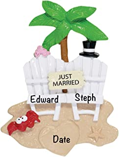 Just Married Beach Personalized Ornament - Unique Christmas Tree Ornament - Special Keepsake - Custom Decorations for Engagement, Wedding or Any Special Couple - Personalization Included