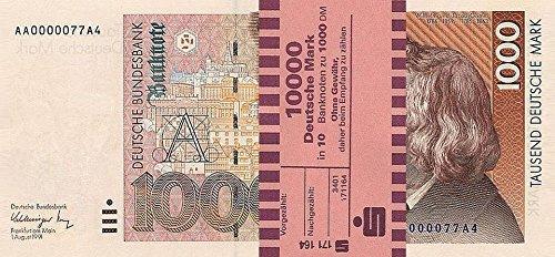 *** 10 x 1000 DM, Deutsche Mark, Geldscheine 1991, mit Banderole - Reproduktion ***