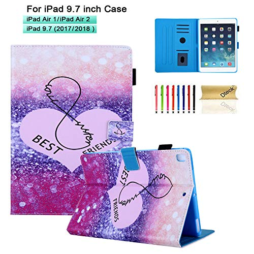 Dteck Case for iPad 9.7 2018/2017, iPad Air 5th Gen/6th Gen Case with Pencil Holder- for Kid/Girl Cute Cartoon Slim Fit PU Leather Folding Stand Cover Smart Wake/Sleep Case, Best Friend