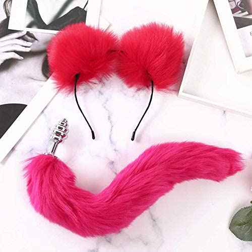 for s x Handcuffs Faux Fur Animal Ears Headband Fluffy Long Tail Metal An l B tt Pl g Erotic product image