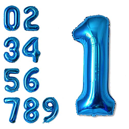 40 Inch Jumbo Blue Number 1 Balloon Giant Balloons Prom Balloons Helium Foil Mylar Huge Number Balloons for Birthday Party Decorations/Wedding/Anniversary