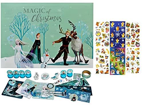 Trendhaus Undercover FRTW8024 - Calendario dell'Avvento per ragazze, con 24 articoli di cancelleria, motivo Disney Frozen, circa 45 x 32 x 3 cm + set di 3 adesivi