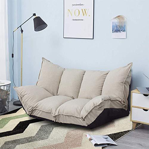 - Lazy Sofa Futons Sets verstellbar Sofa TV Boden Couch Faltsofa Bett Unterhaltung   Beige