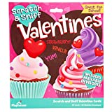 Scratch & Sniff Cupcakes Valentines Day Cards for Girls & Kids, 28 Card Pack & Envelopes - Vanilla & Strawberry Scented - Great for School Classroom Parties - 4+