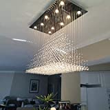 Moooni Modern Rectangular Raindrop Crystal Ceiling Lighting Fixture Pendant Chandelier LED Light for Dining Rooms Rectangle Chandeliers L40' x W20' x H36'