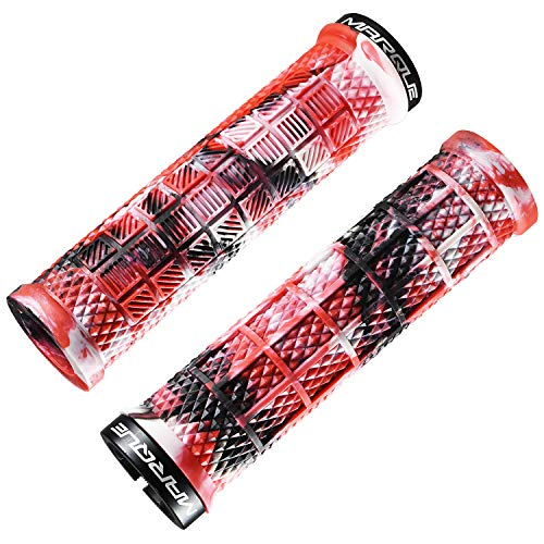 MARQUE Grapple Mountain Bike Handlebar Grips – Single Lock-On Ring MTB and BMX Bicycle Handle Bar with Non-Slip Grip (Wild FIre Red)