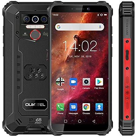Móvil Resistente, OUKITEL WP5 Telefono Movil Antigolpes, Batería Grande de 8000 mAh, 4GB RAM + 32GB ROM, 5.5 Pulgadas, Cámara Triple, Android 10.0 Smartphone con 4 Linternas LED Súper Brillantes- Rojo