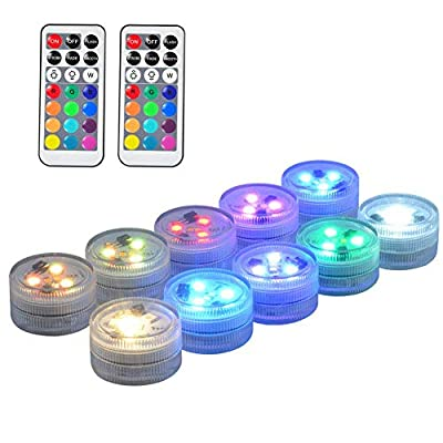 """10 Pack 1.5"""" Small Submersible LED Lights, Battery Operated LED Color Changing Craft Tea Light Underwater with Remote for Pool Pond Parties Events Hot Tubs Fountains Wedding Centerpieces Vases Decor"""