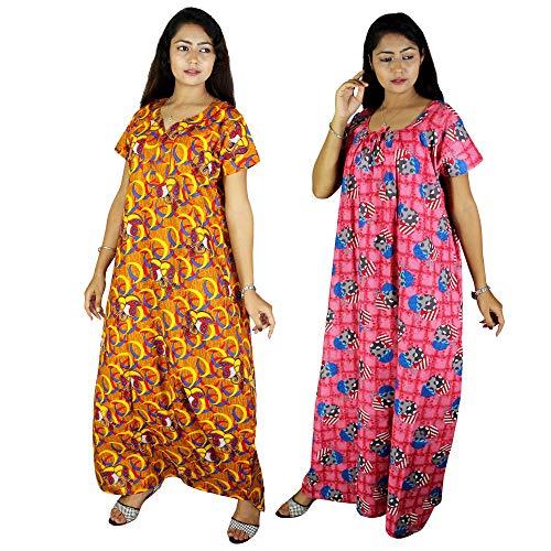 Riyashree Club Women's Cotton Maxi Nighty- Free Size Multicolour Combo...