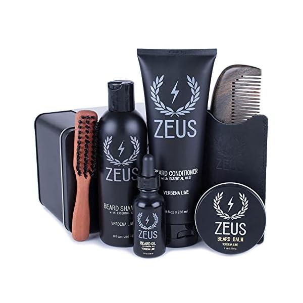 ZEUS Men's Premium Grooming Set – Complete Beard Care, Beard Shampoo & Conditioner, Beard Oil & Balm, Beard Brush & Comb… 1