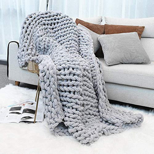 Inshere Luxury Chunky Knit Throw Blanket (48'x60')-Large Cable Knitted Soft Cozy Polyester Chenille...