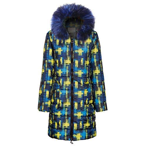 Cappotto Donna Piumino Imbottito Invernali Elegante Giacca con Cappuccio Impermeabile Lungo Basamento Giubbotto Trincea Addensare Caldo Leggero Piuma Cotone Outwear (XL,3- Blu)