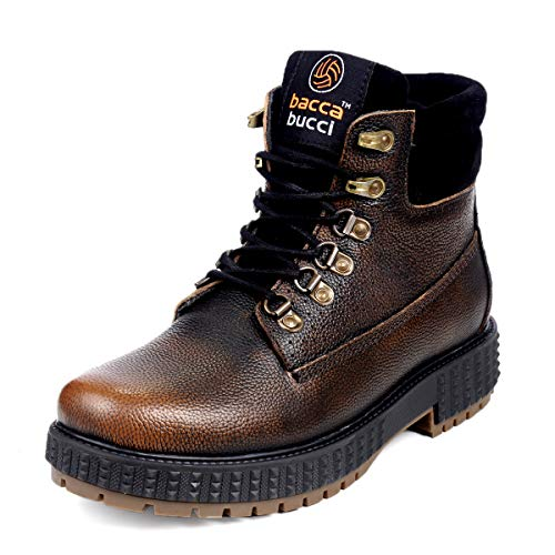 Bacca Bucci® Men's Storm Surge Premium Oil Full Grain Leather Insualted/Rugged/Breathable/Height Increaser Work Boots (UK/IND-06, EURO-40, Brown)