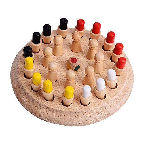 Tnfeeon Juego de Memoria de Juguete Educativo temprano de ajedrez de Palo de Madera Puzzle 3D Juego de Fiesta Familiar para niños Adultos