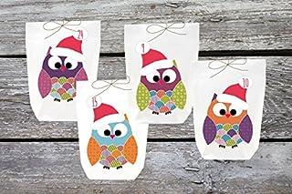 Set de 24 bolsas blancas para llenar de regalos, diseño de búhos de varios colores, ideal para calendario de Adviento