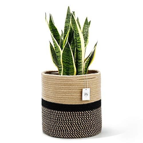 POTEY 700502 Jute Rope Plant Basket Modern Woven Basket for 11