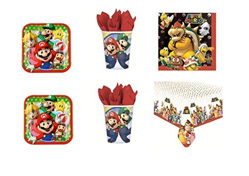 Super Mario Bros Luigi et fête – Kit N ° 9 CDC- (32, 32 verres, 40 assiettes 40 serviettes, 1 nappe)