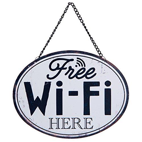 C&E Free WiFi Here Vintage Plaque en métal Extra sur Tableau Rétro Gemacht, Décoration ou Remarque Panneau WiFi Env. Clayre & Eef Produit de Marque 17 x 13 cm