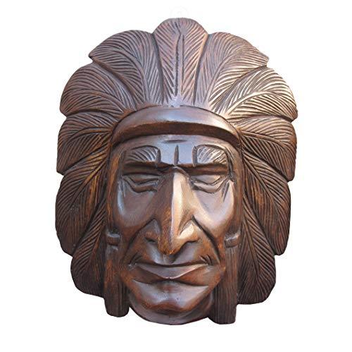 Land of Simple Treasures Holz-Zigarren-Lader, indischer Chef-Statue, Büstenkopf, handgeschnitztes Holz, Wanddekoration Large Cherokee